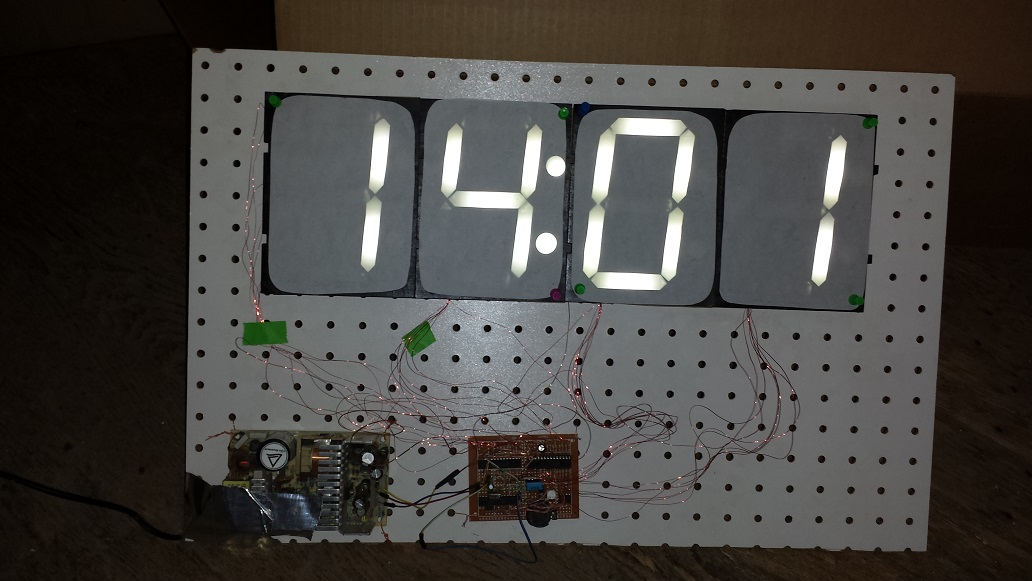 Large LED Clock from Recycled Components